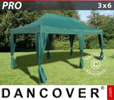 Pop Up Marquee PRO 3x6 m Green, incl. 6 decorative curtains