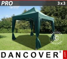 Pop Up Marquee PRO 3x3 m Green, incl. 4 decorative curtains