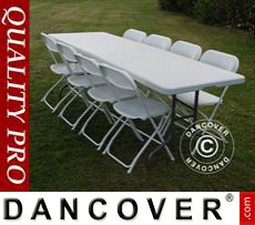 Party package, 1 folding table (242 cm) + 8 chairs & 8 Seat cushions, Light...