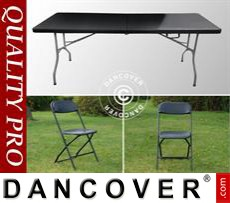 Party package, 1 folding table (242 cm) + 8 chairs, Black