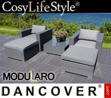 Garden Furniture Lounge Set, 5 modules, Modularo, Grey