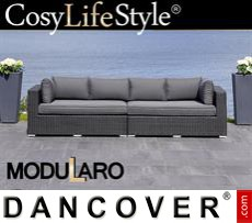 Garden Furniture Lounge Sofa, 2 modules, Modularo, Black