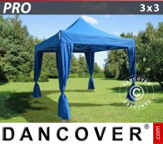 Garden gazebo PRO 3x3 m Blue, incl. 4 decorative curtains