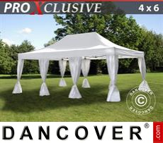 Garden gazebo PRO 4x6 m White, incl. 8 decorative curtains