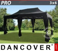 Garden gazebo PRO 3x6 m Black, incl. 6 decorative curtains