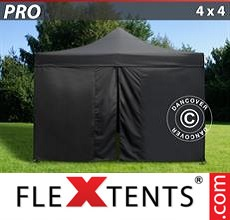 Pop up canopy PRO 4x4 m Black, incl. 4 sidewalls