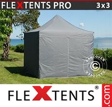 Pop up canopy PRO 3x3 m Grey, incl. 4 sidewalls