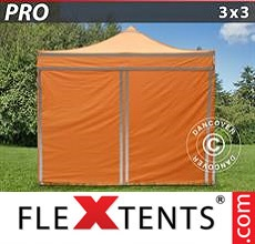 Pop up canopy PRO Work tent 3x3 m Orange Reflective, incl. 4...