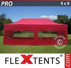 Pop up canopy PRO 4x8 m Red, incl. 6 sidewalls