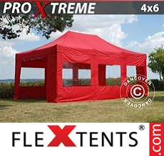 Pop up canopy Xtreme 4x6 m Red, incl. 8 sidewalls