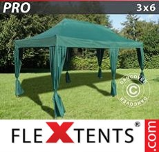 Pop up canopy PRO 3x6 m Green, incl. 6 decorative curtains