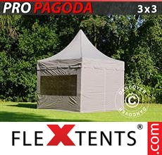 Pop up canopy PRO Peak Pagoda 3x3 m Latte, incl. 4 sidewalls