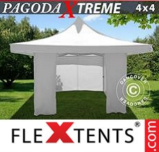 Pop up canopy Pagoda Xtreme 4x4 m / (5x5 m) White, incl. 4 sidewalls