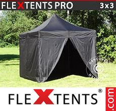 Pop up canopy PRO 3x3 m Black, incl. 4 sidewalls