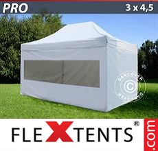 Pop up canopy PRO 3x4.5 m White, incl. 4 sidewalls