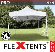 Pop up canopy PRO 4x4 m White, Flame retardant