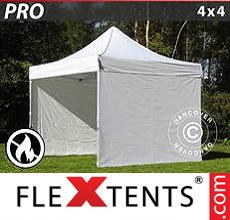 Pop up canopy PRO 4x4 m White, Flame retardant, incl. 4 sidewalls