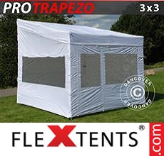 Pop up canopy PRO Trapezo 3x3m White, incl. 4 sidewalls