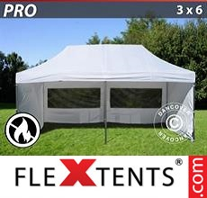 Pop up canopy PRO 3x6 m White, Flame retardant, incl. 6 sidewalls
