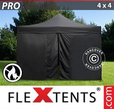 Pop up canopy PRO 4x4 m Black, Flame retardant, incl. 4 sidewalls