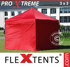 Pop up canopy Xtreme 3x3 m Red, incl. 4 sidewalls