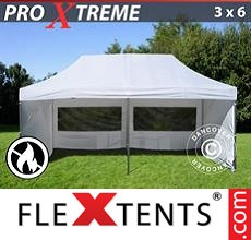 Pop up canopy Xtreme 3x6 m White, Flame retardant, incl. 6 sidewalls