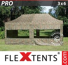 Pop up canopy PRO 3x6 m Camouflage/Military, incl. 6 sidewalls