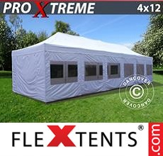 Pop up canopy Xtreme 4x12 m White, incl. sidewalls