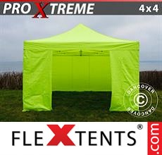 Pop up canopy Xtreme 4x4 m Neon yellow/green, incl. 4 sidewalls