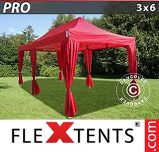 Pop up canopy PRO 3x6 m Red, incl. 6 decorative curtains