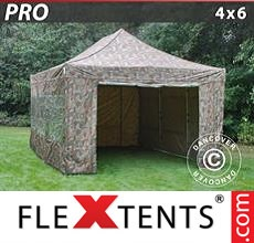 Pop up canopy PRO 4x6 m Camouflage/Military, incl. 8 sidewalls