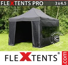 Pop up canopy PRO 3x4.5 m Black, incl. 4 sidewalls