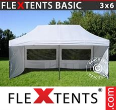 Pop up canopy Basic, 3x6 m White, incl. 6 sidewalls