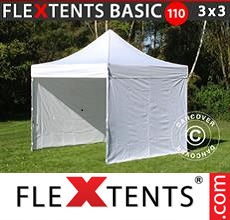 Pop up canopy Basic 110, 3x3 m White, incl. 4 sidewalls