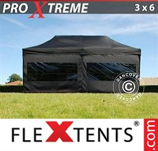 Pop up canopy Xtreme 3x6 m Black, incl. 6 sidewalls