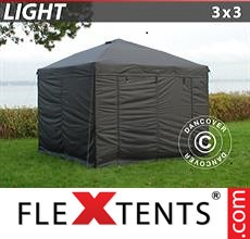 Pop up canopy Light 3x3 m Black, incl. 4 sidewalls