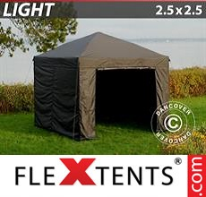 Pop up canopy Light 2.5x2.5 m Black, incl. 4 sidewalls
