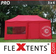 Pop up canopy PRO 3x6 m Red, incl. 6 sidewalls
