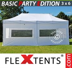 Pop up canopy Basic 3x6 m White, incl. 6 sidewalls