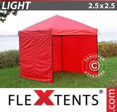 Pop up canopy Light 2.5x2.5 m Red, incl. 4 sidewalls