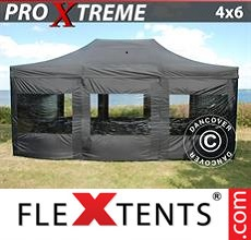 Pop up canopy Xtreme 4x6 m Black, incl. 8 sidewalls