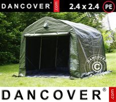 Portable Garage PRO 2.4x2.4x2 m PE, with ground cover, Green/Grey