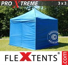 Racing tent Xtreme 3x3 m Blue, incl. 4 sidewalls