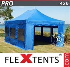 Racing tent PRO 4x6 m Blue, incl. 8 sidewalls