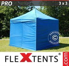 Racing tent PRO 3x3 m Blue, incl. 4 sidewalls