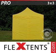 Racing tent PRO 3x3 m Yellow, incl. 4 sidewalls