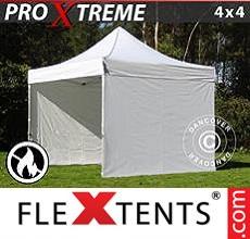 Racing tent Xtreme 4x4 m White, Flame retardant, incl. 4 sidewalls
