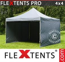 Racing tent FleXtents PRO 4x4 m Grey, incl. 4 sidewalls