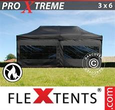 Racing tent Xtreme 3x6 m Black, Flame retardant incl. 6 sidewalls