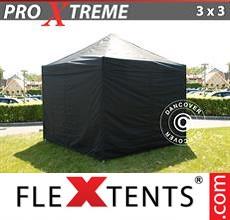 Racing tent Xtreme 3x3 m Black, incl. 4 sidewalls